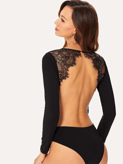 Lace Panel Backless Bodysuit - Bodysuits