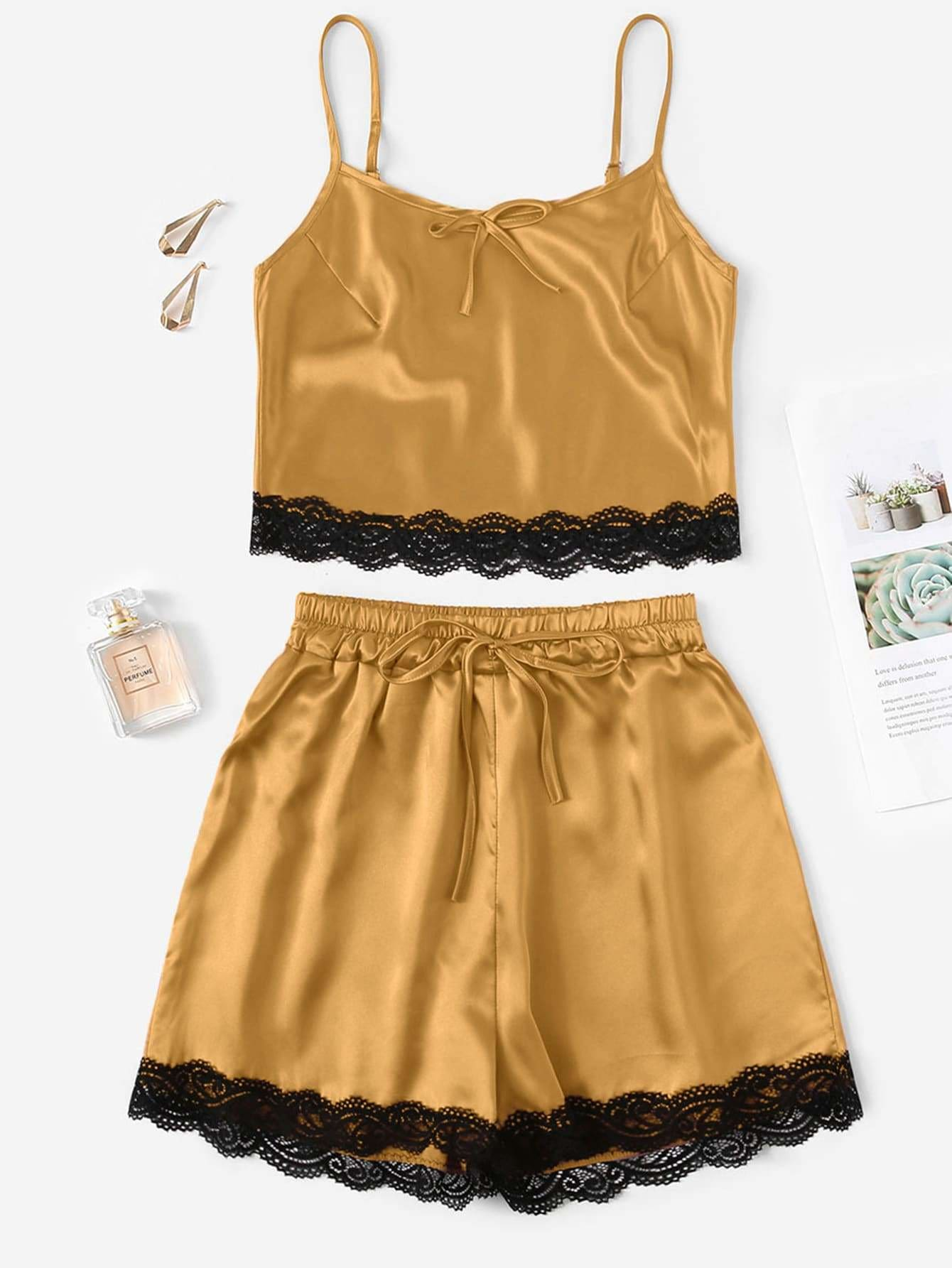 28ed02f1b1 Lace Trim Satin Cami And Shorts Pj Set