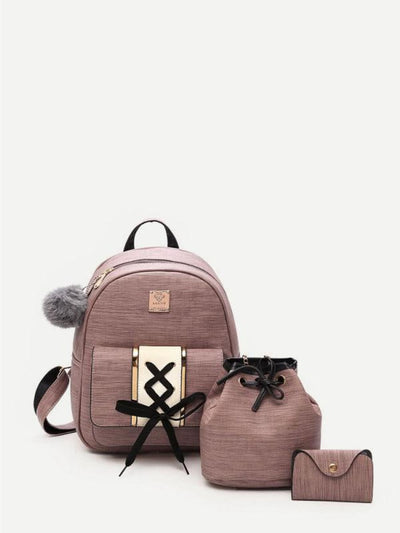Lace Up Design Combination Bag 3Pcs With Pom Pom - Womens Bag