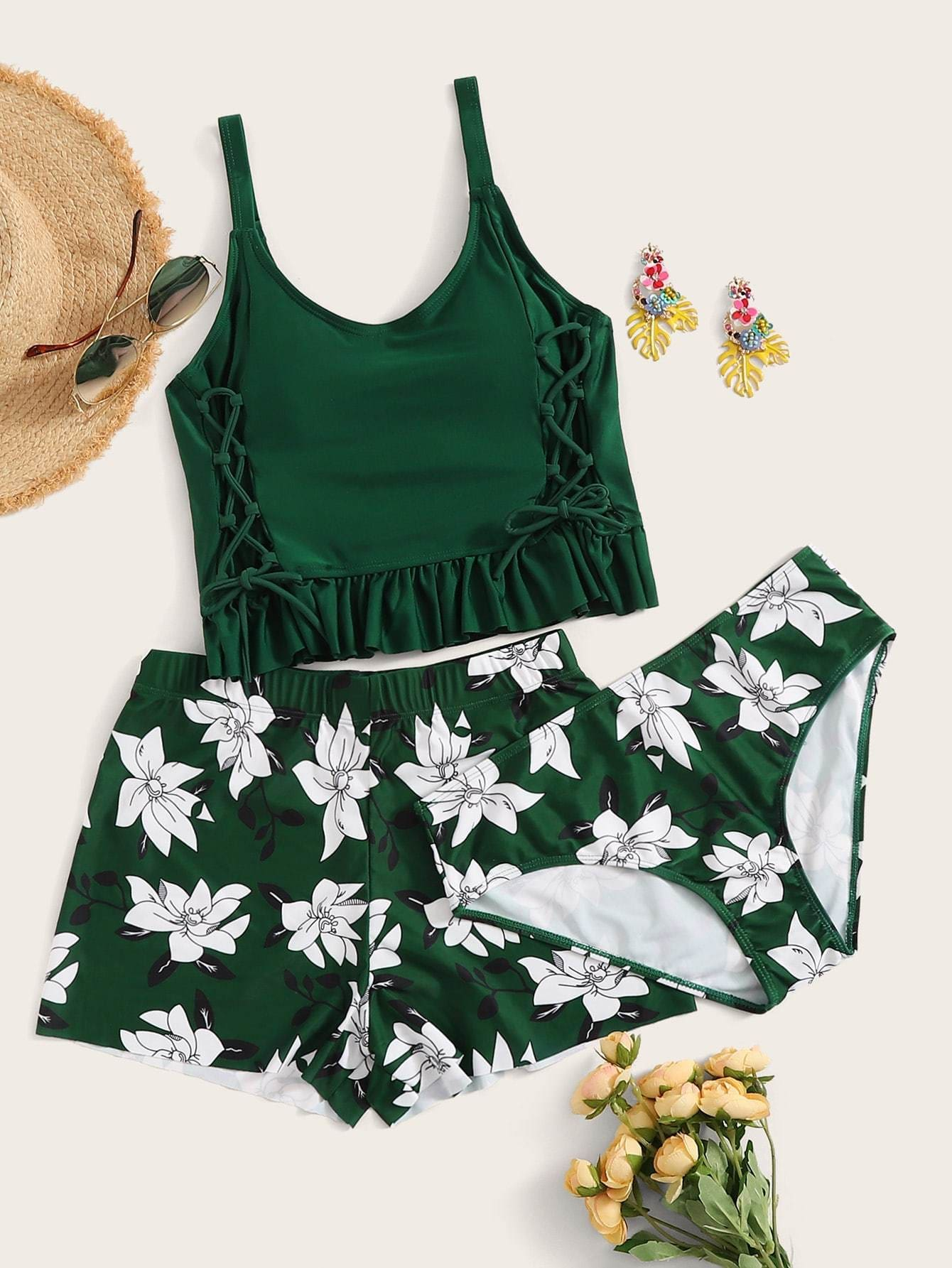 Lace Up Frill Hem Top With Floral 3piece Swimwear - S - High Waist Swimwear