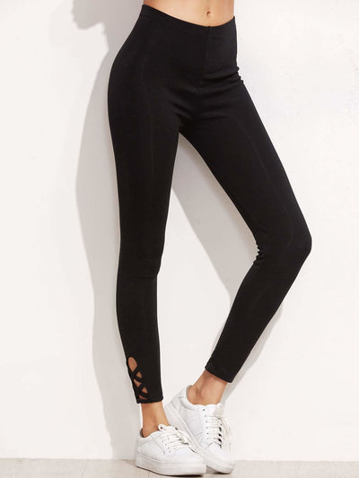 Lattice Hem Empire Leggings - Fittness Leggings