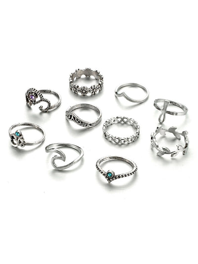 Leaf And Flower Rings Set 10Pcs - Rings