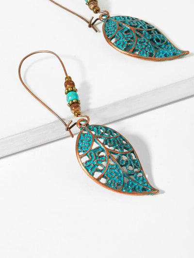 Leaf Beaded Hoop Earrings - Earrings