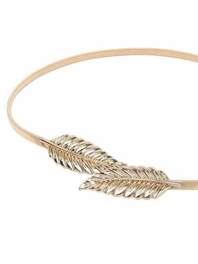 Leaf Buckle Golden Metal Elastic Belt - Belts