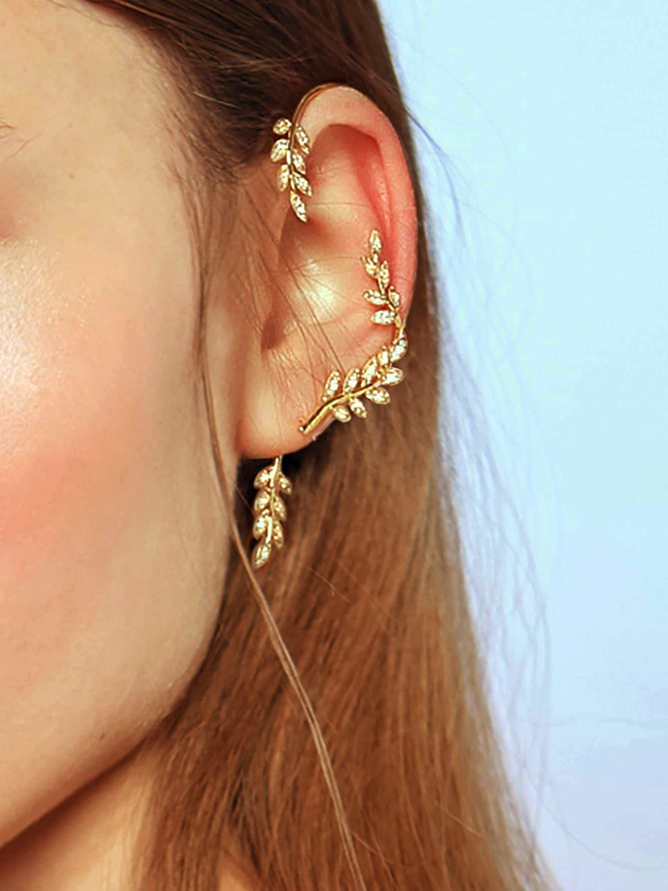 Leaf Design Ear Climber 1pc - Earrings