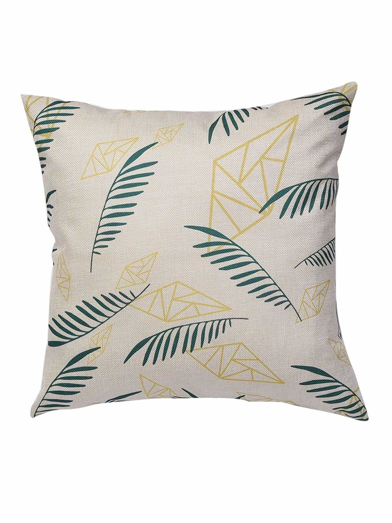 Leaf Print Cushion Cover 1PC