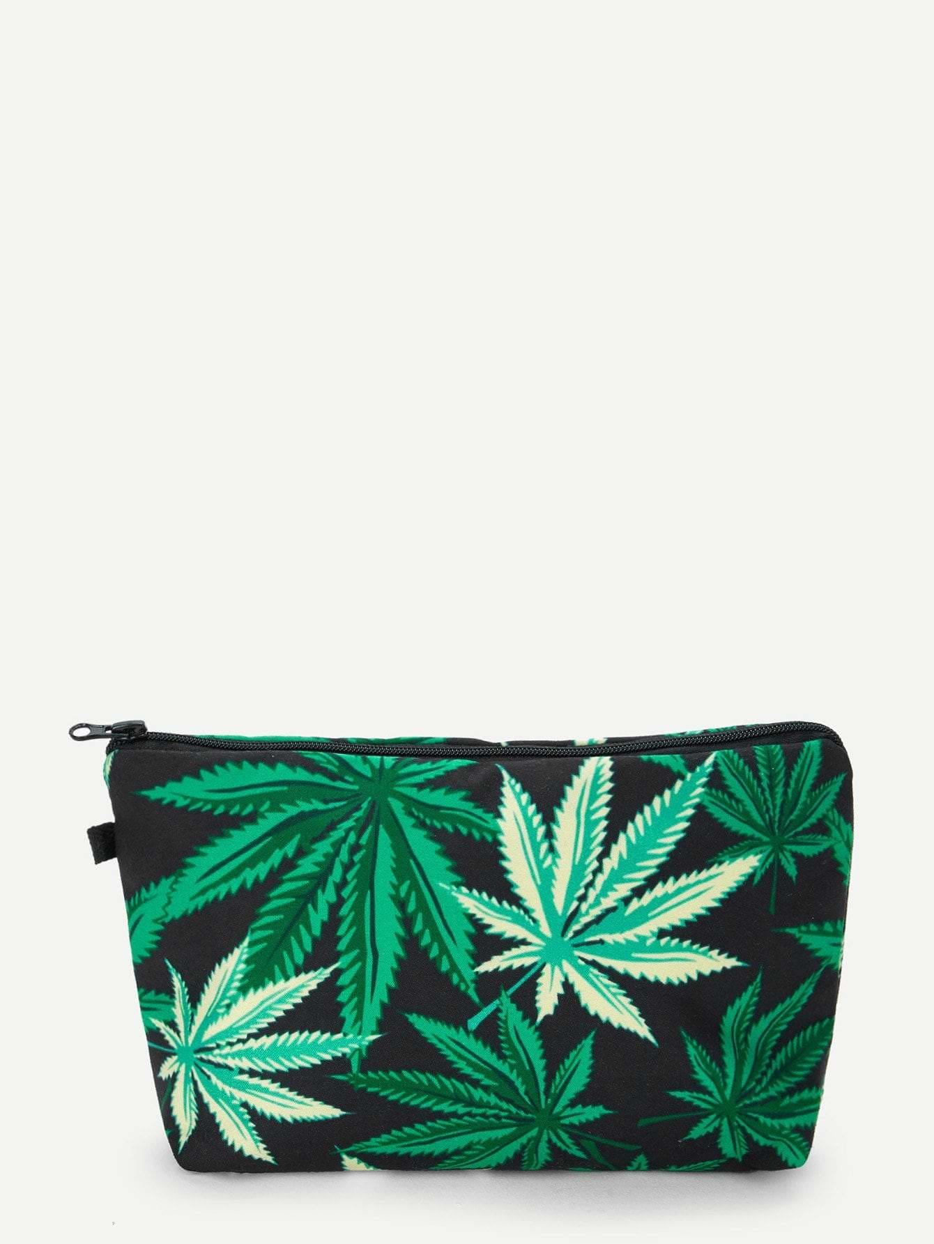 Leaf Print Makeup Bag