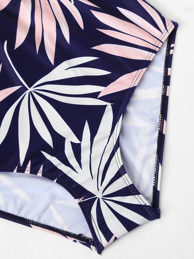 Leaf Print Swimsuit - One Piece Swimwear