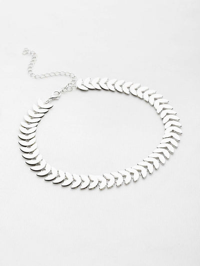 Leaf Shaped Chain Choker - Necklaces