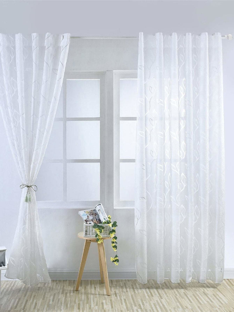 Leaves Print Eyelet Sheer Curtain 1pc - Curtains