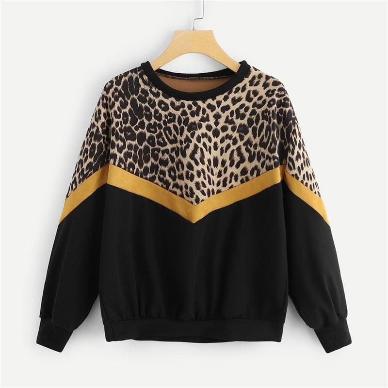 Leopard Panel Drop Shoulder O-Neck Pullover