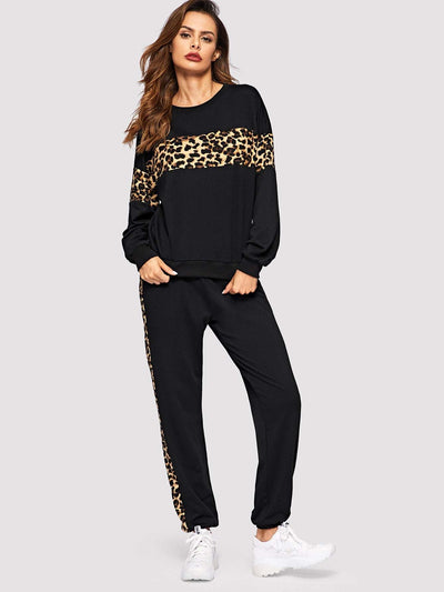 Leopard Panel Pullover And Sweatpants Set - Sportsuit