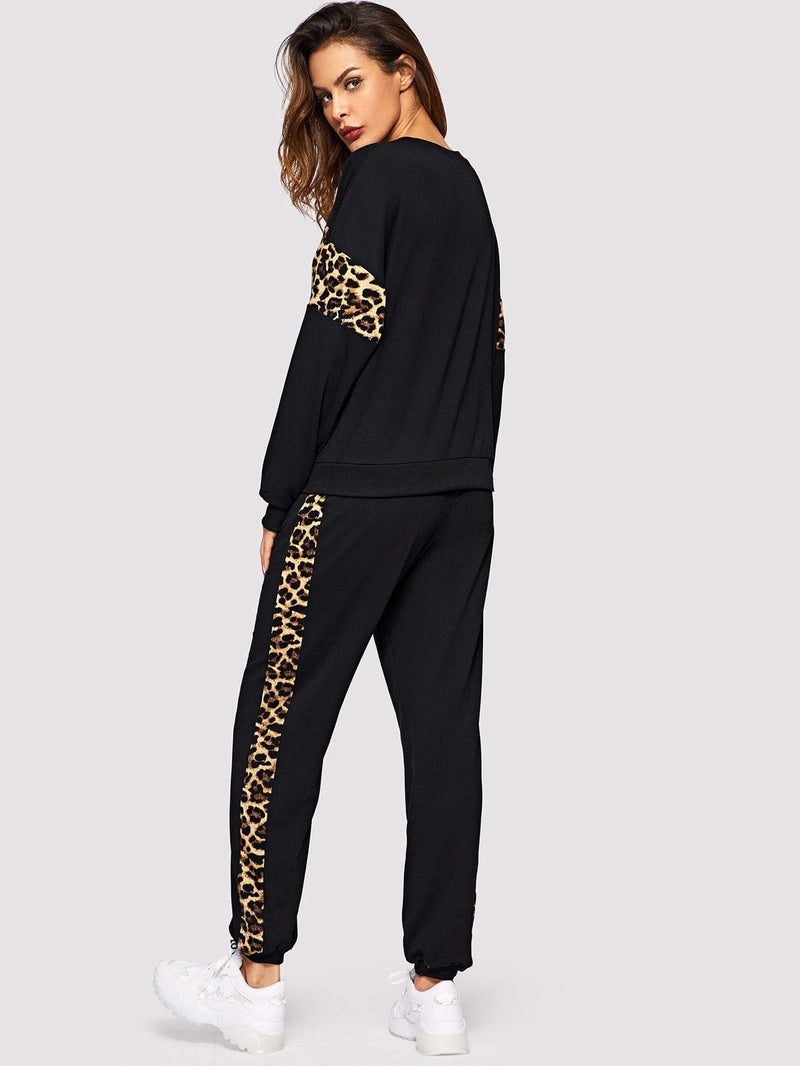 Leopard Panel Pullover and Sweatpants Set