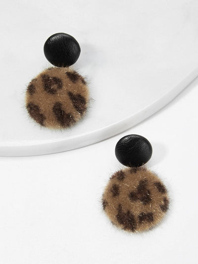 Leopard Pattern Fluffy Round Drop Earrings - Earrings
