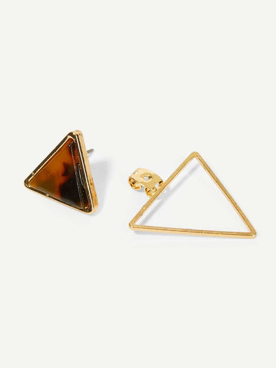 Leopard Pattern Triangle Stud Earrings - Earrings