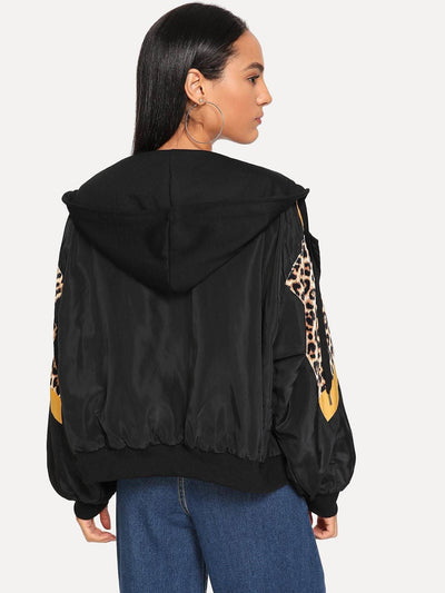 Leopard Print Hooded Jacket - Gym Tops