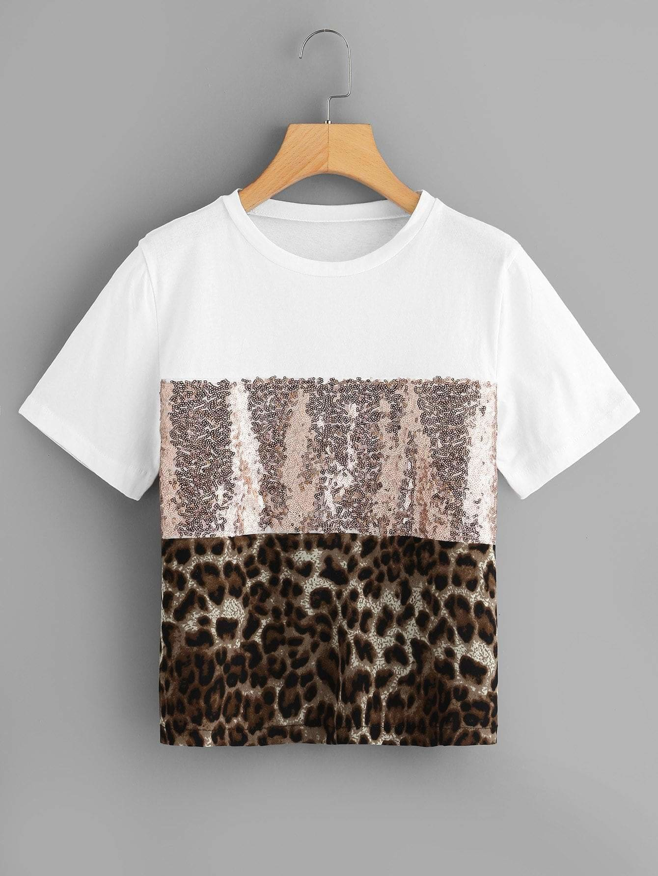 Leopard & Sequin Panel Tee - S / Multicolor - Shirts