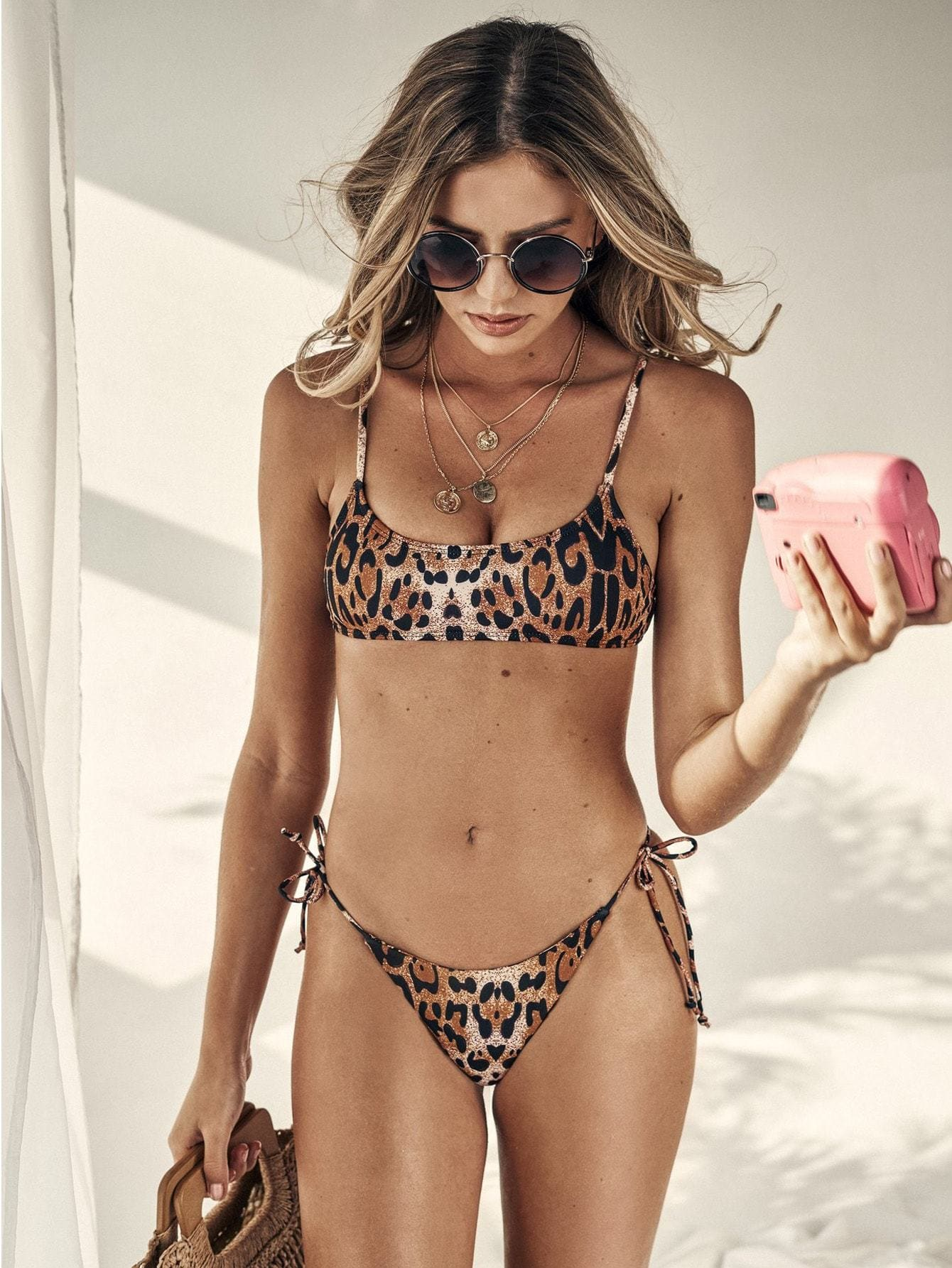 Leopard Spaghetti Strap Top With Tie Side Bikini
