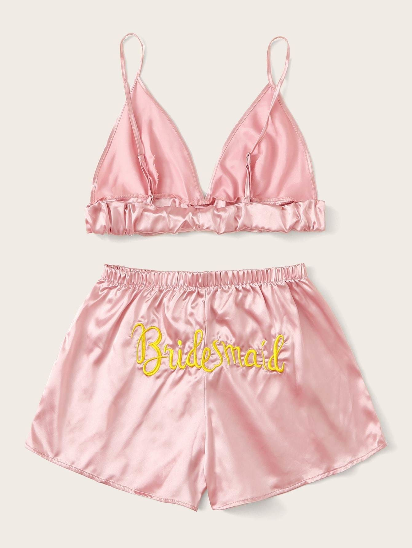 Letter Embroidered Back Satin Lingerie Set - S - Nightwears