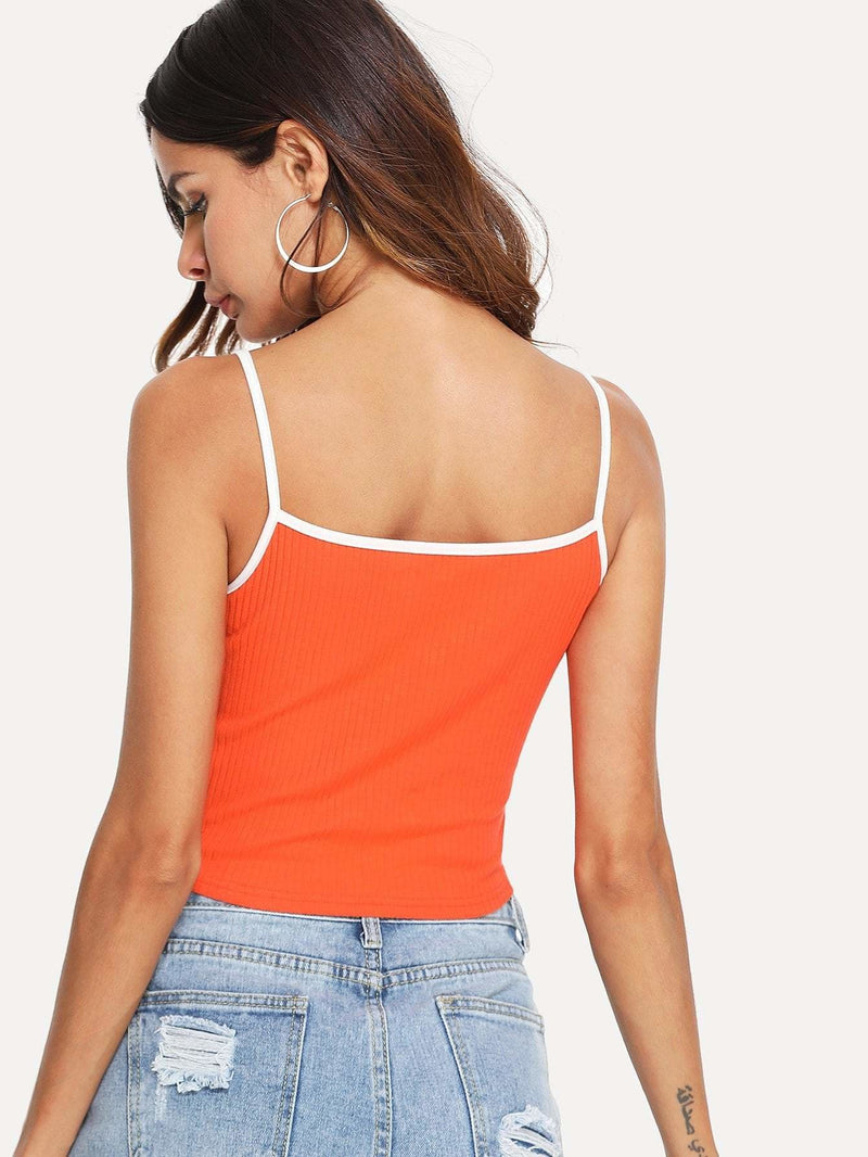 Letter Embroidered Cami Top - Crop Tops