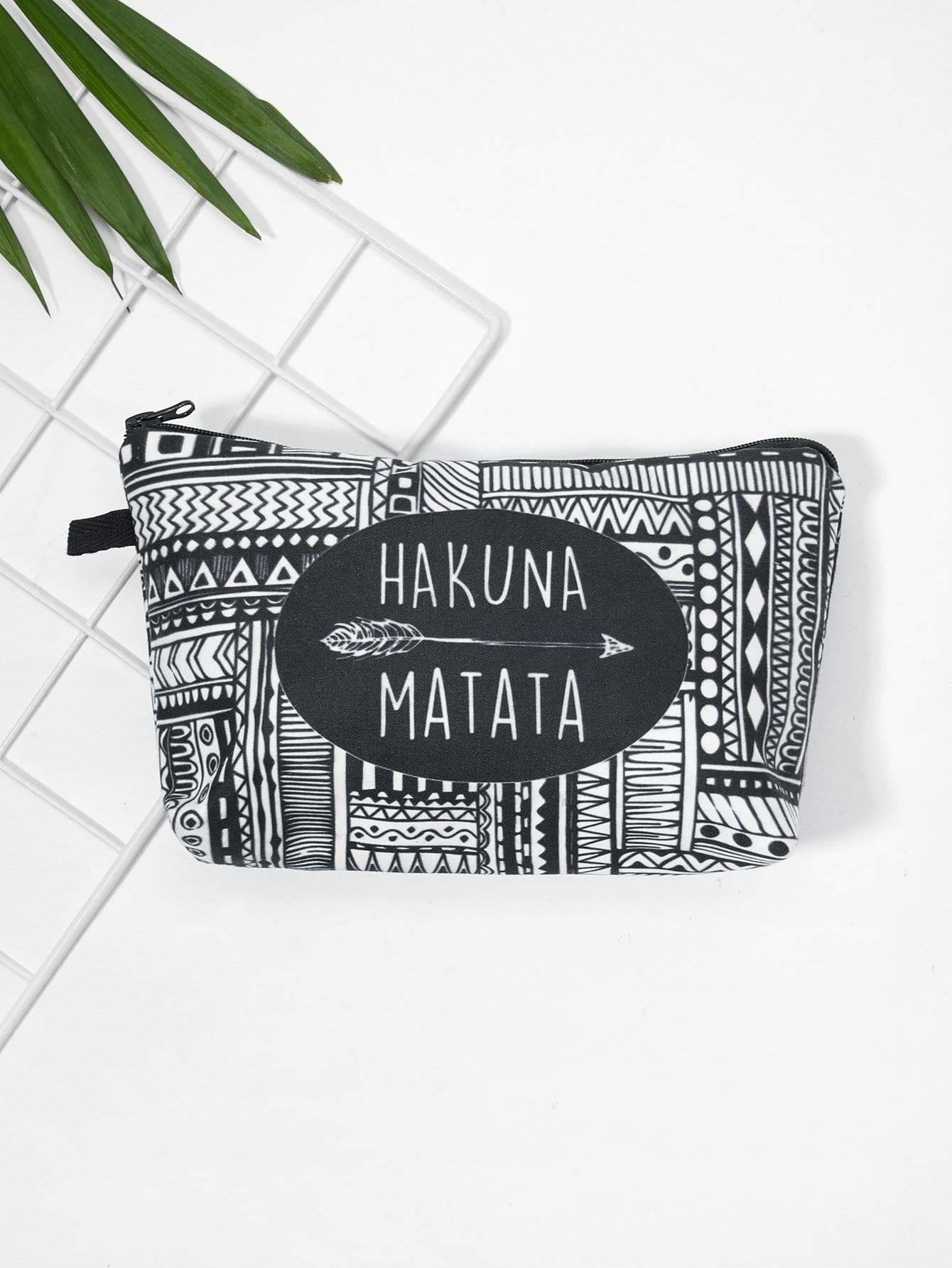 Letter & Geometric Print Makeup Bag
