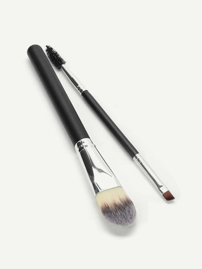 Letter Pattern Makeup Brush Set 2Pcs - Makeup Brushes