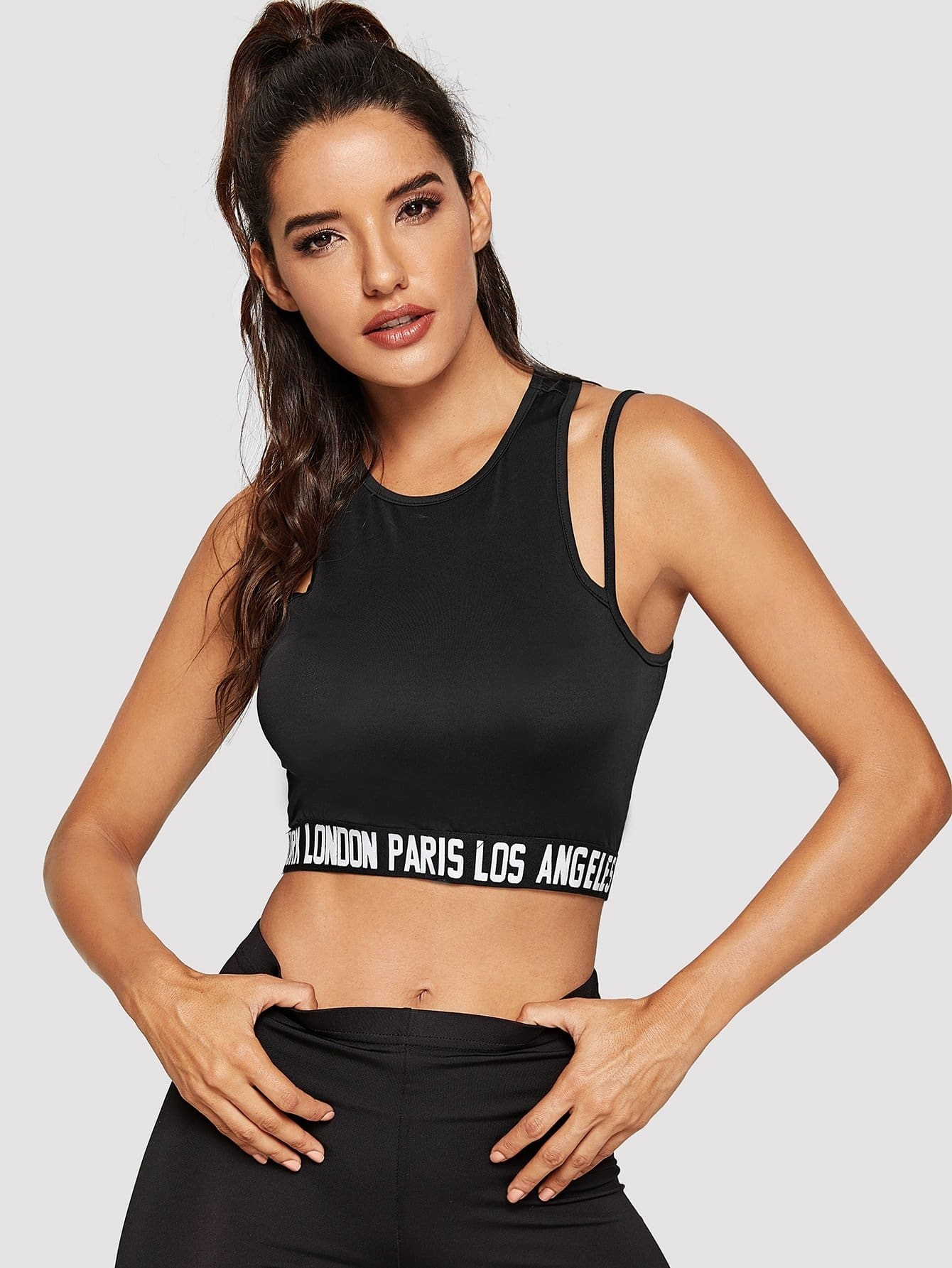 Letter Print Crop Tank Top With Strap - S / Black - Sport Bras