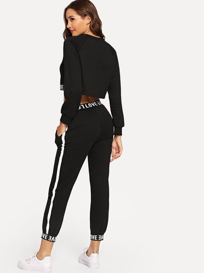 Letter Print Crop Top With Drawstring Pants - Sportsuit