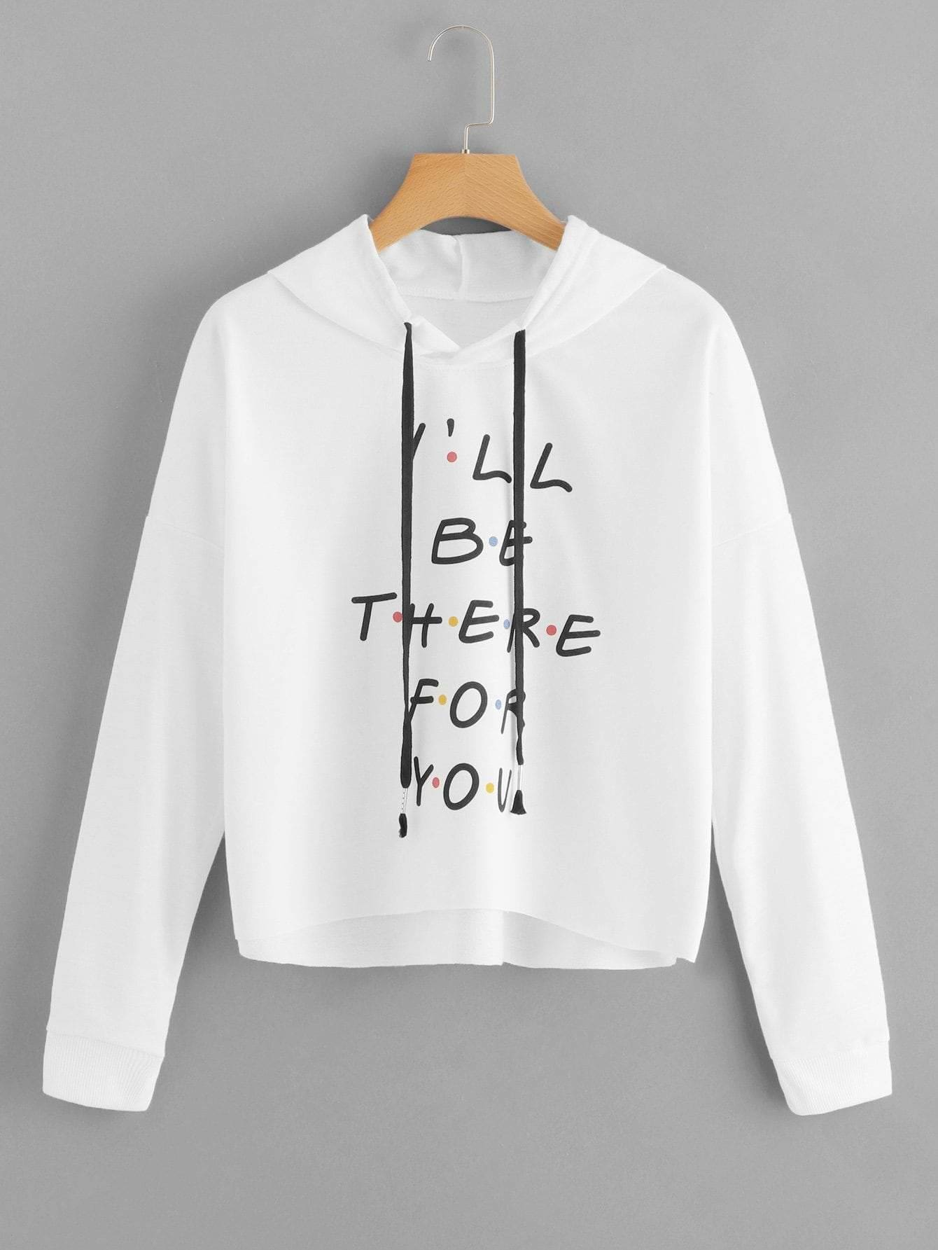 Letter Print Drawstring Hoodie - Gym Tops