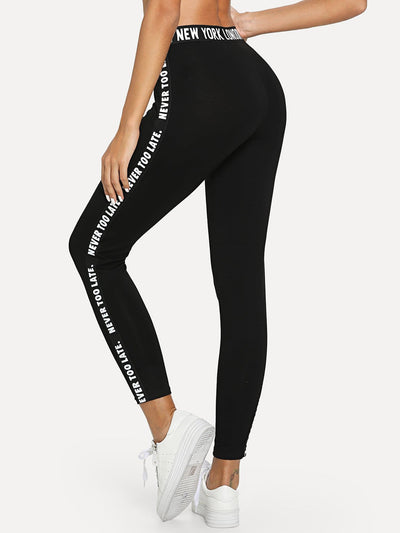 Letter Print Leggings - Fittness Leggings