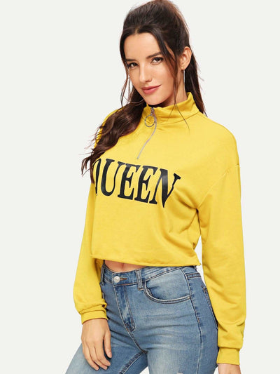 Letter Print Pull Zip Raw Hem Sweatshirt - Gym Tops