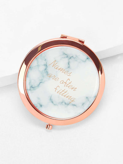Letter Print Round Mirror - Beauty Tools