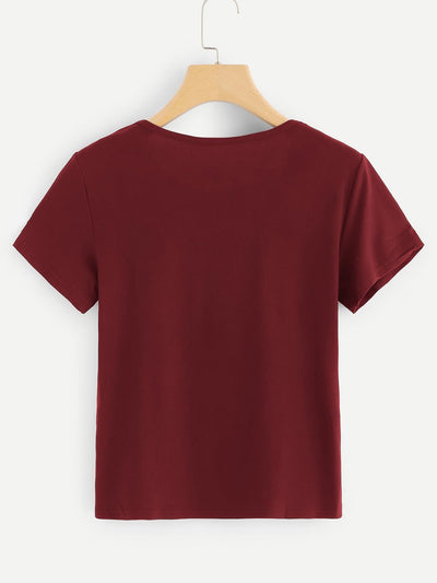 Letter Print Round Neck Tee - Shirts