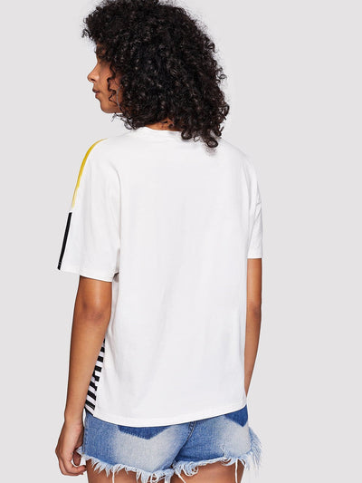 Letter Print Striped Brush Tee - Shirts