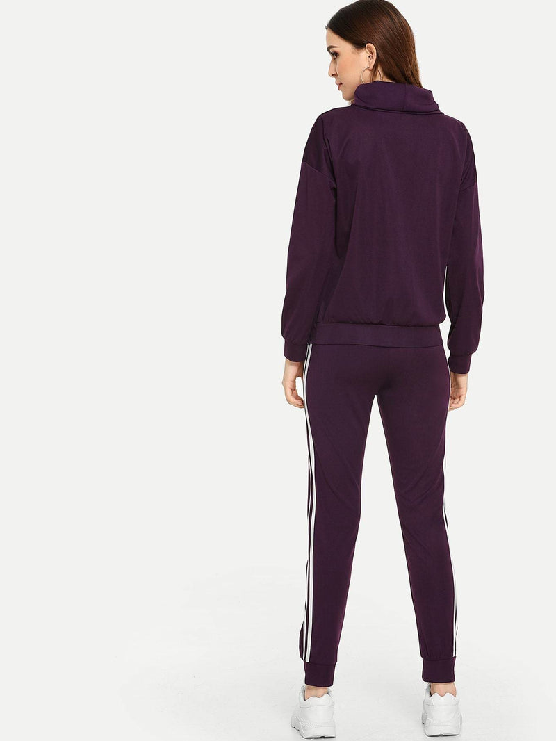 Letter Print Sweatshirt With Pants Set - Sportsuit