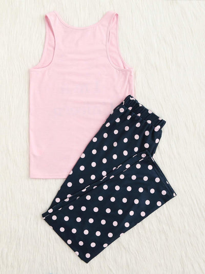 Letter Print Tank & Polka Dot Pants Pj Set - Nightwears