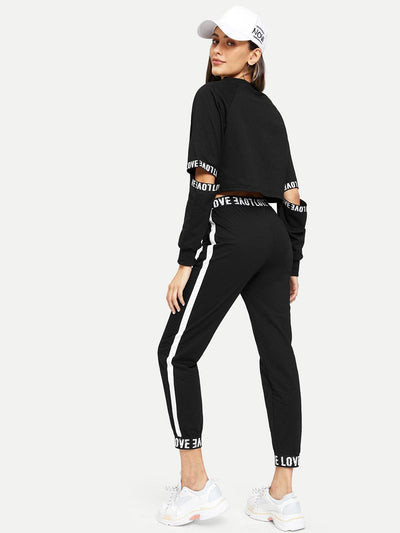 Letter Print Taped Top With Pants - Sportsuit