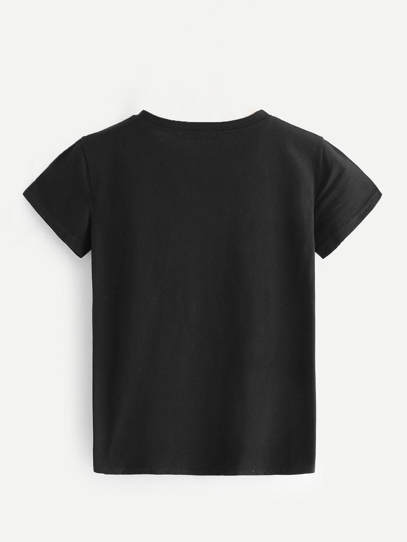 Letter Print Tee - S / Black - Shirts