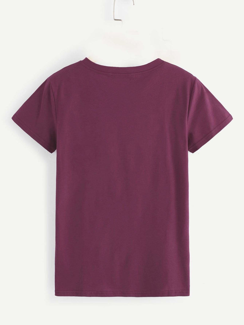 Letter Print Tee - Burgundy / S - Shirts