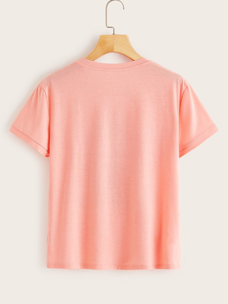 Letter Print Tee - S / Pink - Shirts
