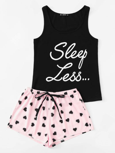 Letter Print Top & Drawstring Waist Shorts Pj Set - Nightwears