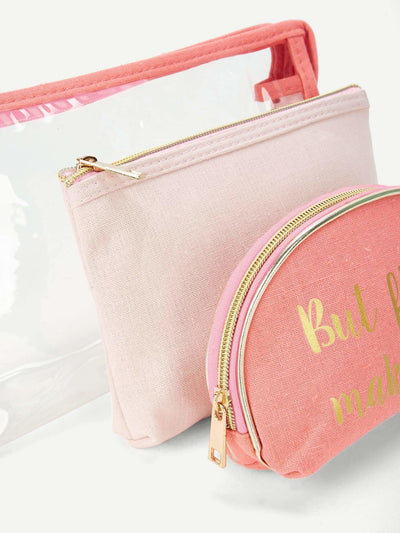 Letter Print Zipper Makeup Bag 3Pcs - Makeup Bags