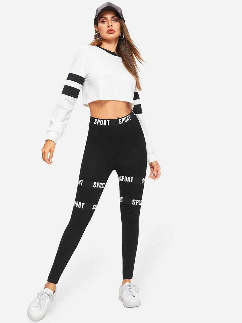 Letter Tape Leggings - Fittness Leggings