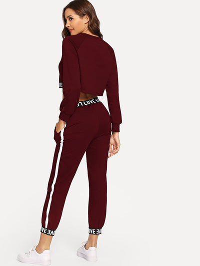 Letter Taped Top With Pants - Sportsuit