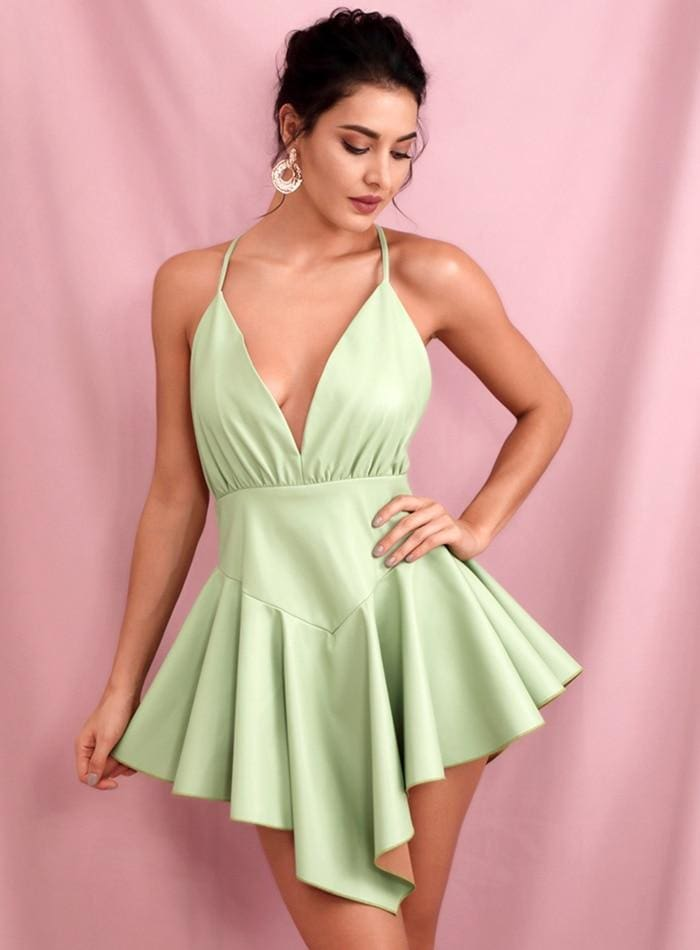 Light Green Deep V-neck Open Back Ruffled PU Mini Party Dress - Light Green / L - Dresses
