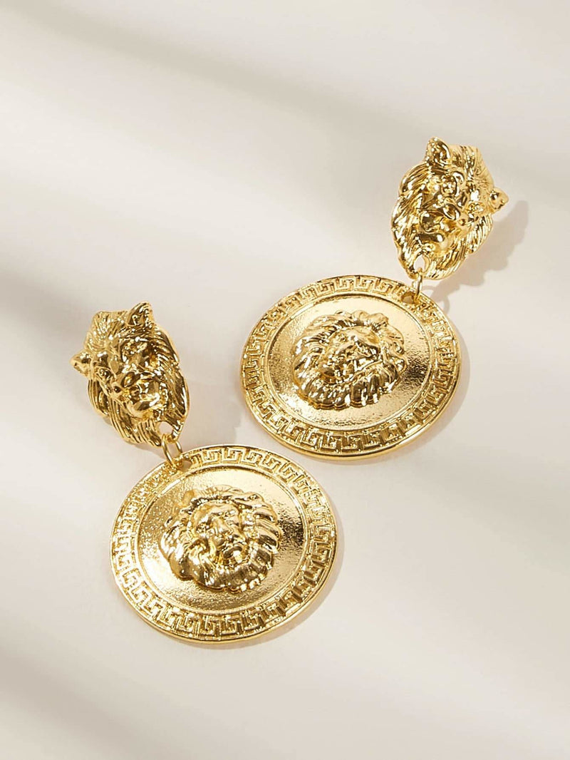 Lion Engraved Round Drop Earrings 1pair - Earrings