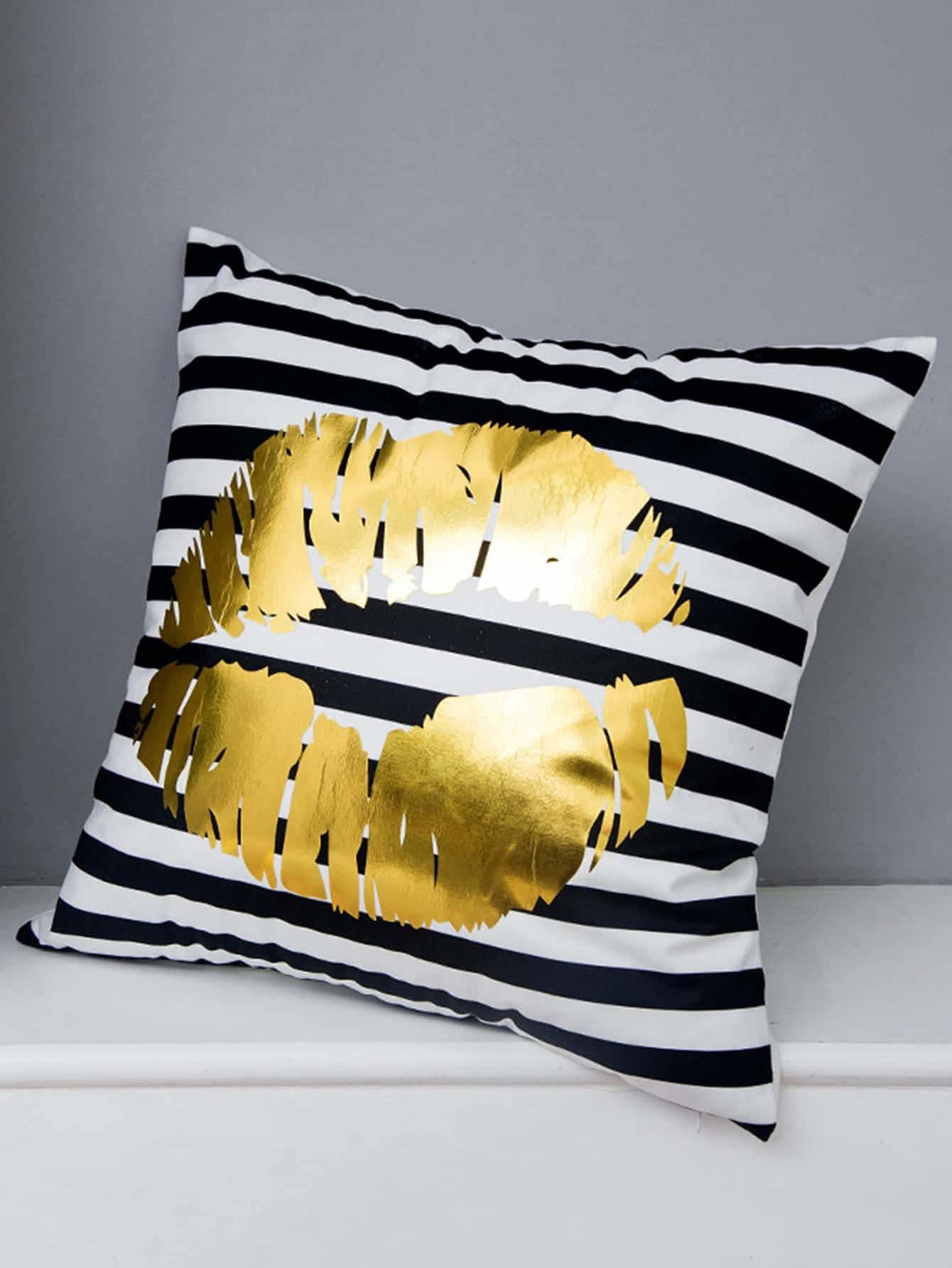 Lips Print Striped Decorative Pillowcase