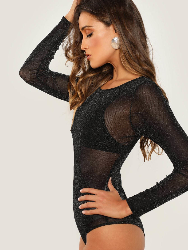 Long Sleeve Mesh Bodysuit - Bodysuits