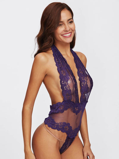 Low Back Crochet Net Teddy Bodysuit - Lingerie