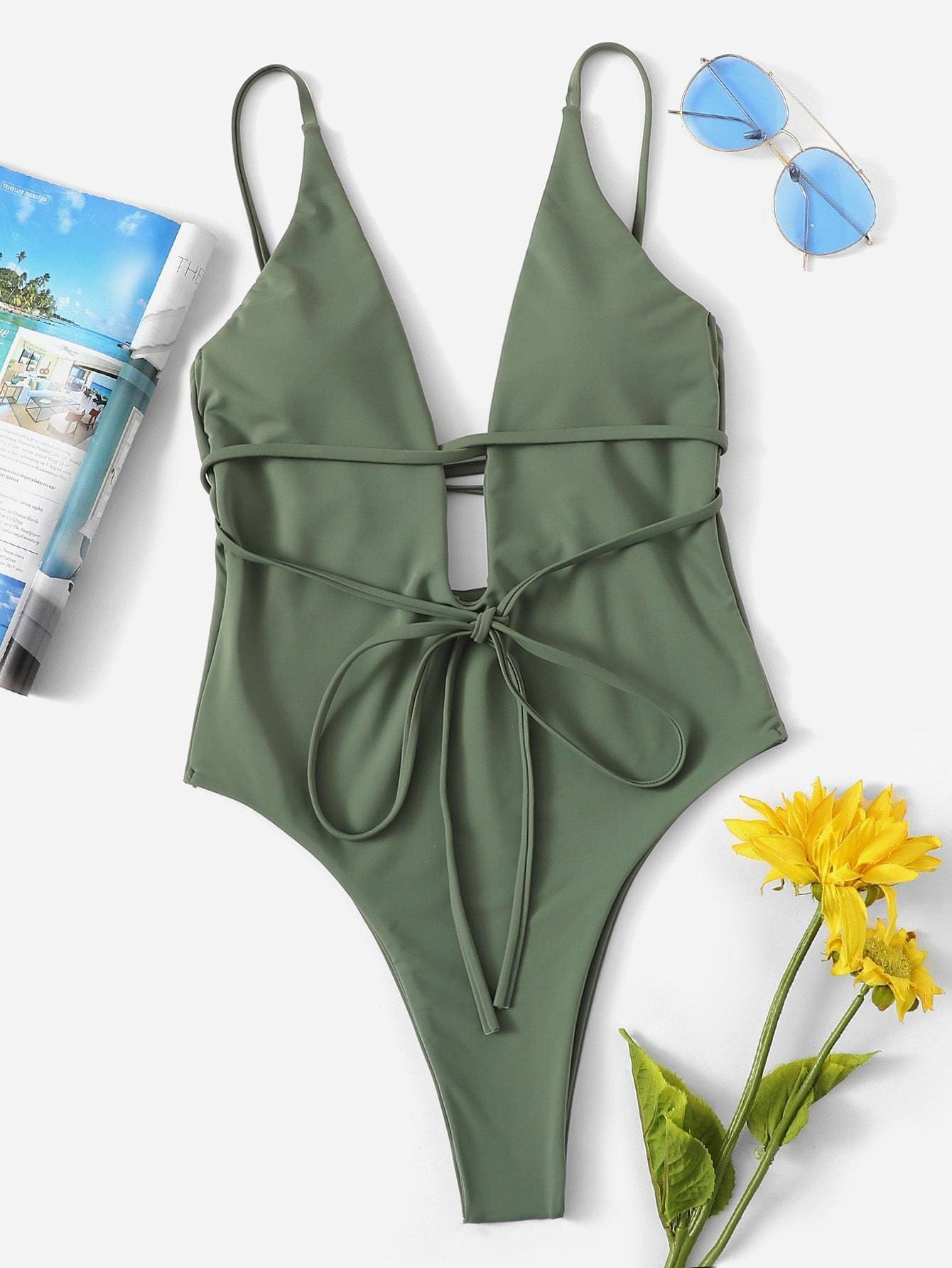 3fa0a0bbacd Low Back Deep Plunge One Piece Swimwear - Popviva